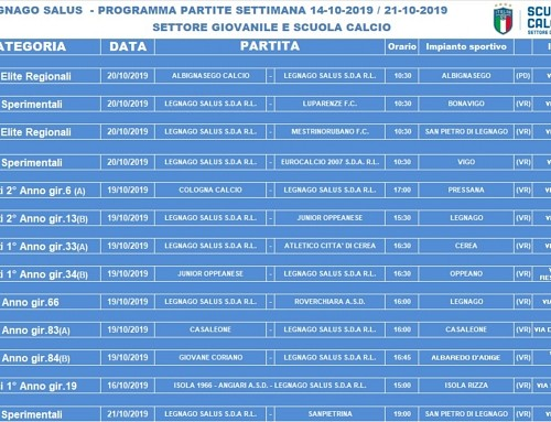Programma gare F.C. Legnago Salus (sabato 19 e domenica 20 ottobre 2019):