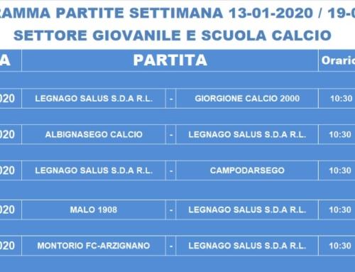 Programma gare F.C. Legnago Salus (sabato 18 e domenica 19 gennaio)