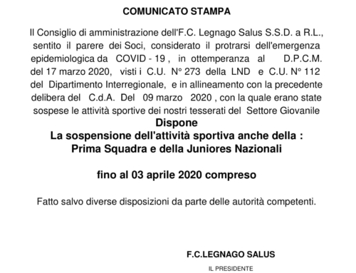 F.C. Legnago Salus – COMUNICATO UFFICIALE