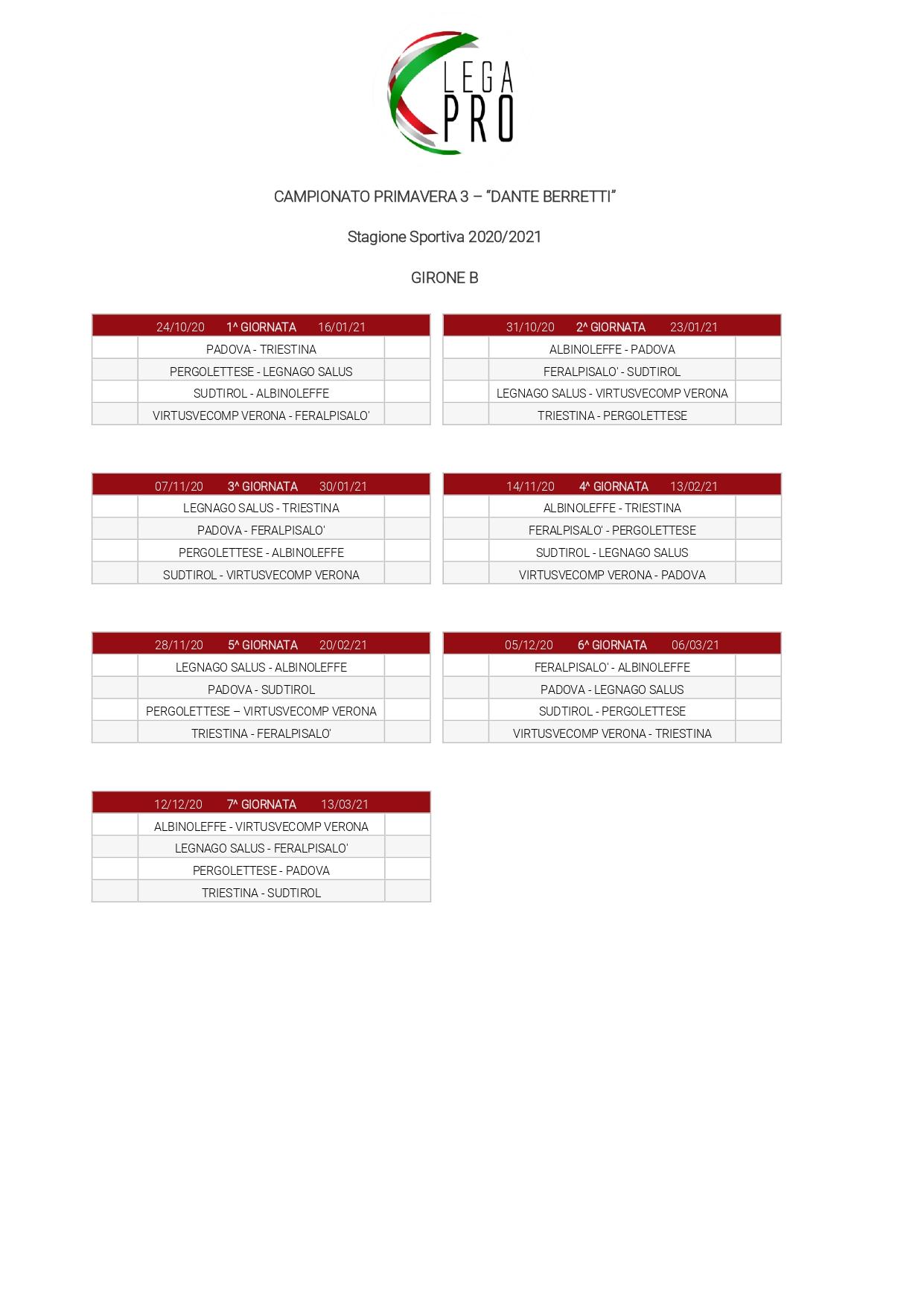Nasce il campionato Primavera 3. Il Legnago esordirà in trasferta sabato 24 ottobre.